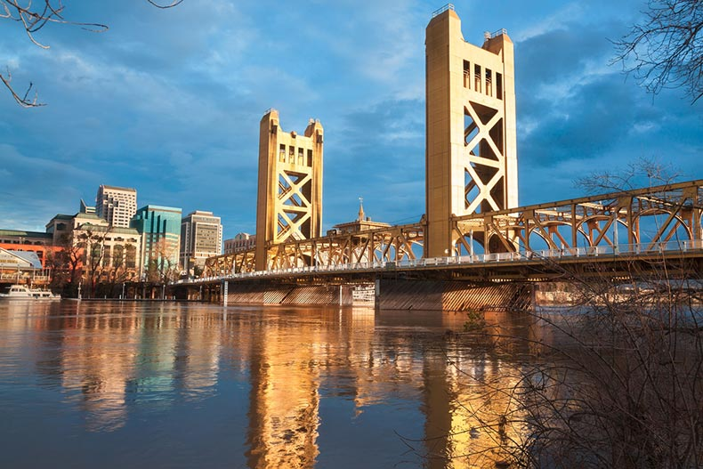 View of the Old Sacramento Bridge and Downtown Sacramento from across the river