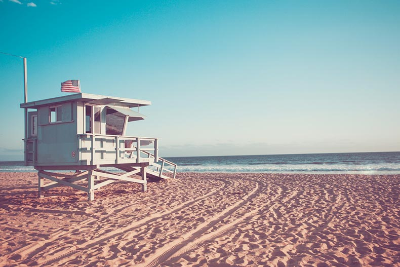 A lifeguard cabin on Santa Monica beach in California