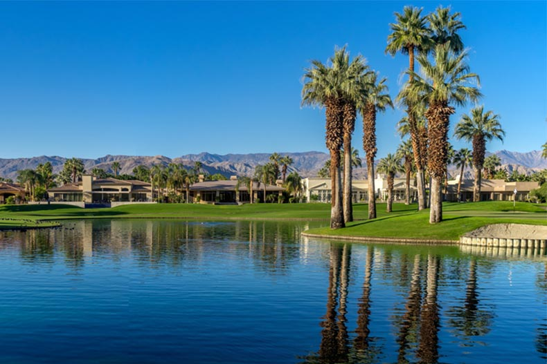 Water feature at a golf resort in Palm Desert, California
