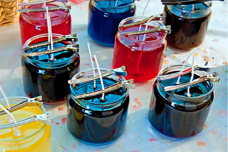 A series of colorful homemade candles