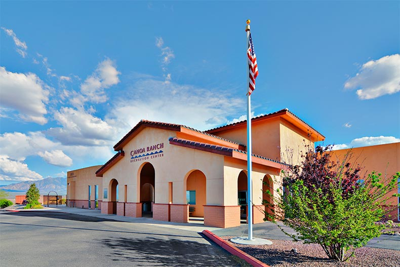 Exterior view of the recreation center at Canoa Ranch in Green Valley, Arizona