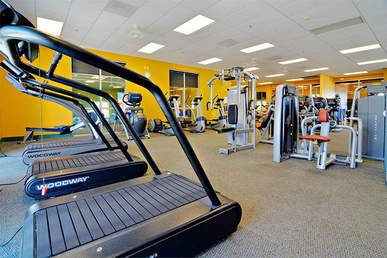 Exercise machines in the fitness center at Canoa Ranch in Green Valley, Arizona