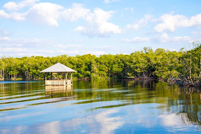 A floating hut on the water in Cape Coral, Florida