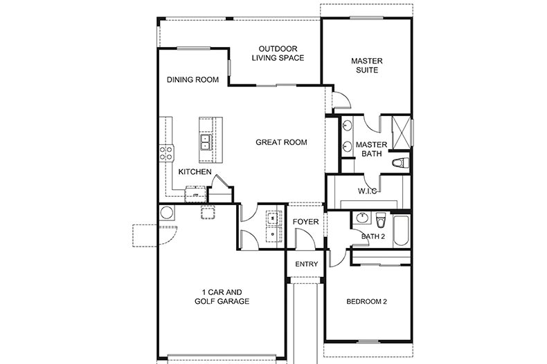 Floor plan layout for the Capri model at Robson Ranch - Arizona in Eloy, Arizona