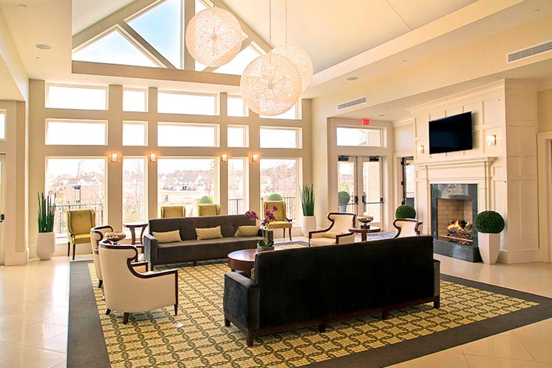 Interior view of the lobby sitting area in the clubhouse at Carolina Arbors in Durham, North Carolina