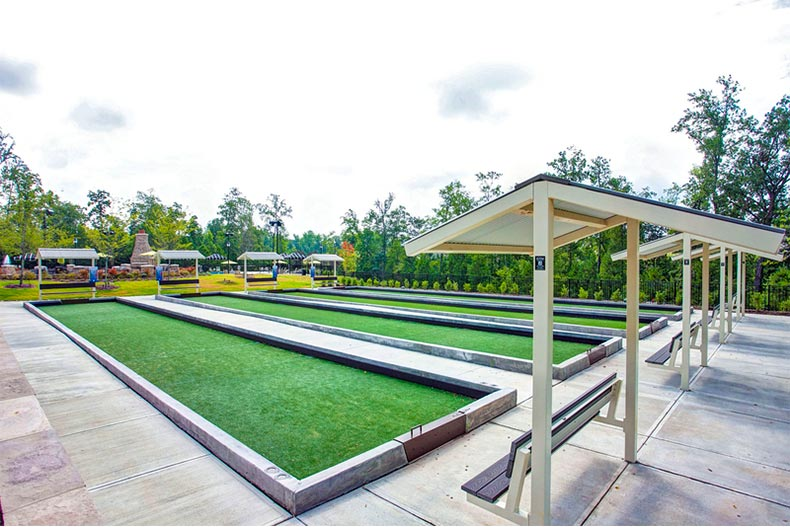 Bocce ball courts in Carolina Arbors in Durham, NC