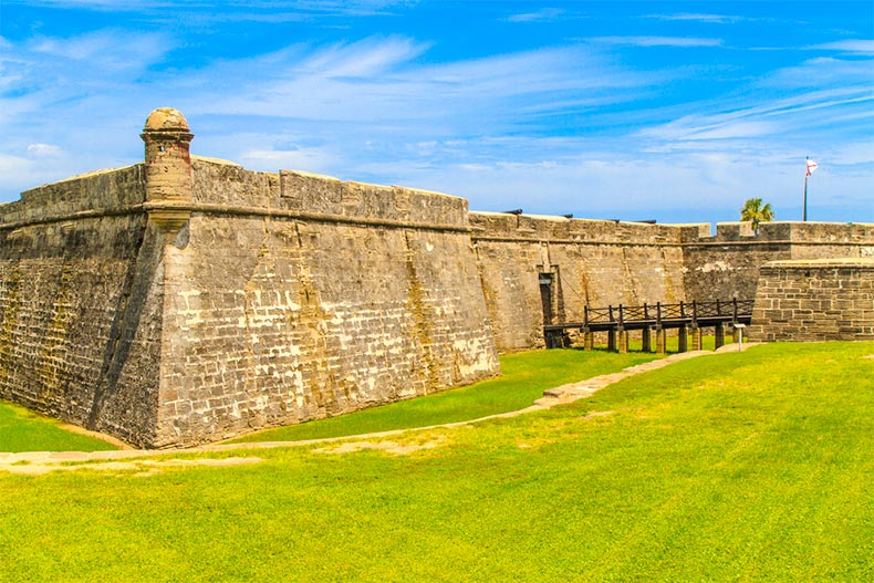Exterior view of Castillo de San Marcos National Monument in St. Augustine, Florida