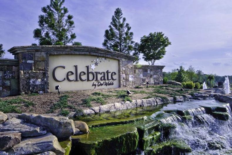 A water feature beside the community sign for Celebrate in Fredericksburg, Virginia