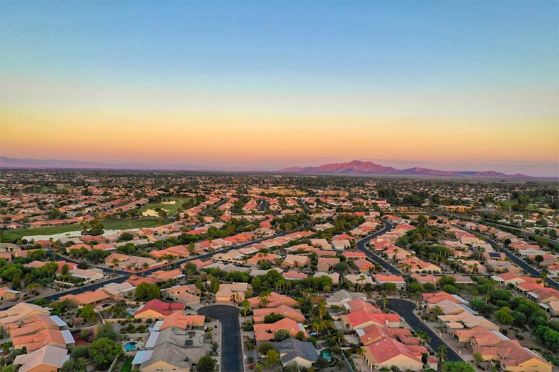 Aerial view of homes in Chandler, AZ at sunset