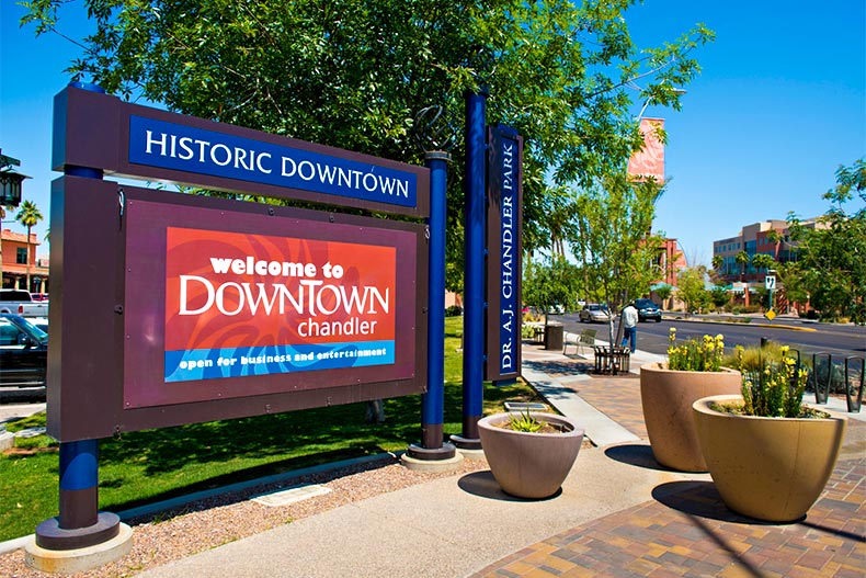 Sign and streets of Downtown Chandler, Arizona