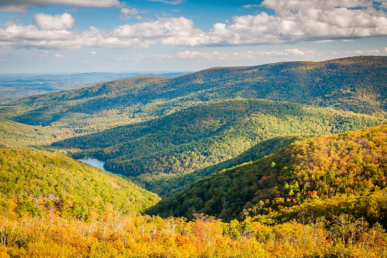 Early autumn view of the Charlottesville Reservoir from Moormans River Overlook in Shenandoah National Park, Virginia