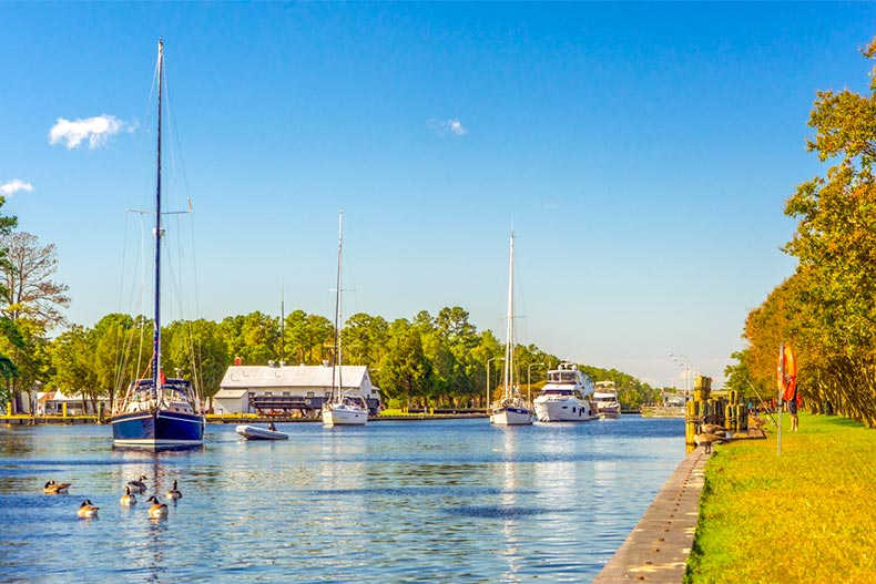 Boats on intracoastal waterway in Chesapeake, VA