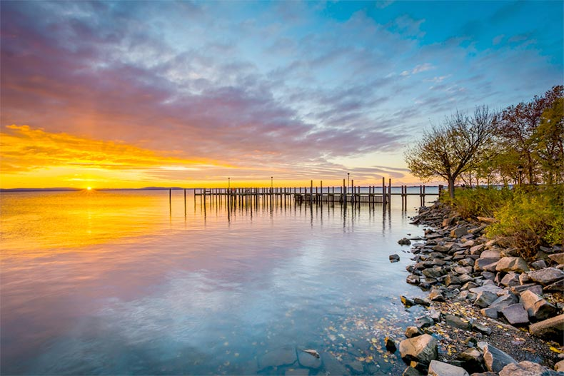 A dock in Chesapeake Bay in Havre de Grace, Maryland at sunrise.