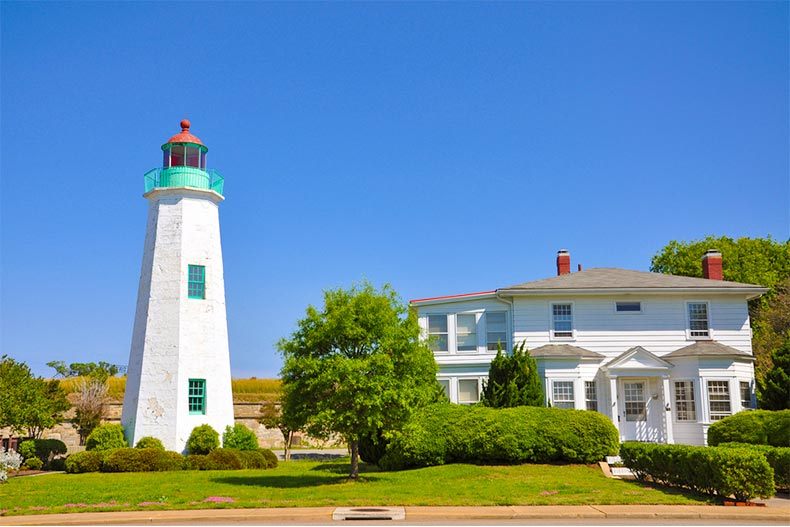 Lighthouse and home on a clear day in Chesapeake Bay, Virginia