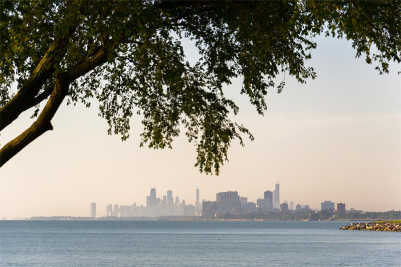 view of chiago skyline and lake michigan from evanston