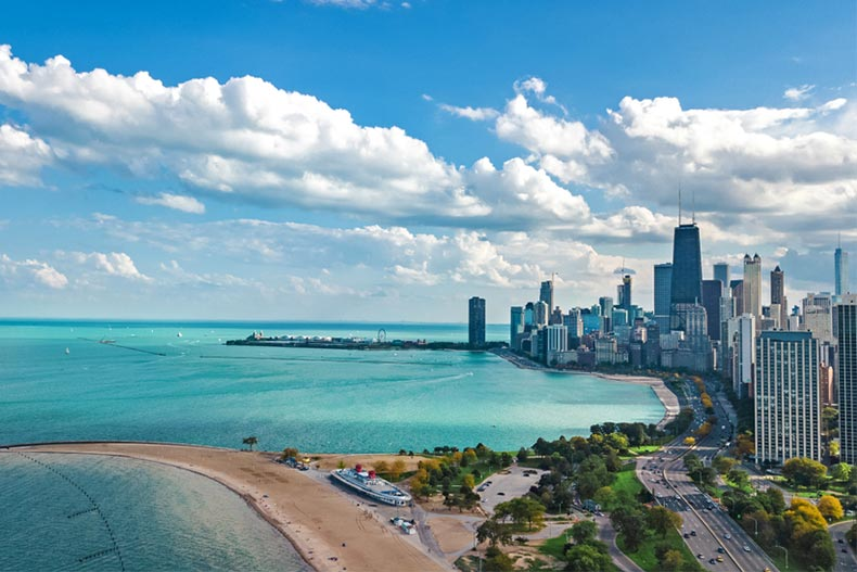 Aerial view of the Chicago skyline and Lake Michigan from Lincoln Park