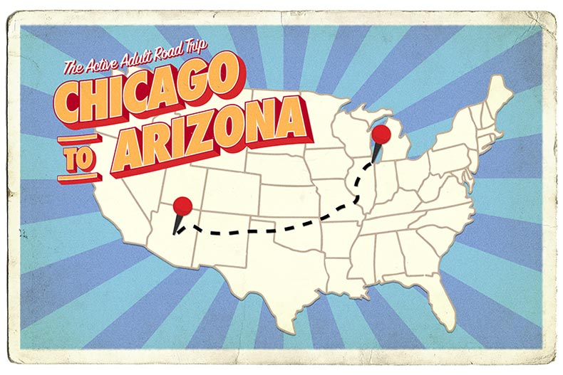 A map of the U.S. in a postcard format with a dotted line tracing the route from Chicago, Illinois to Arizona