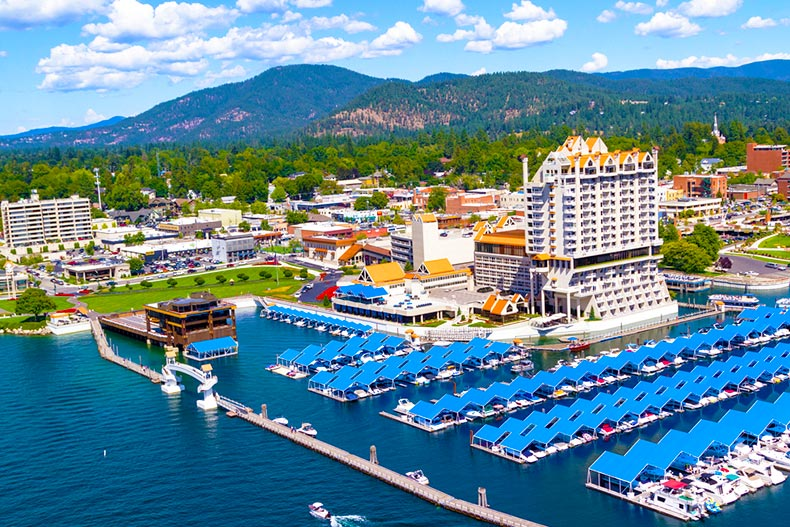 Boat harbor, skyline, and mountains in Coeur d'Alene, Idaho