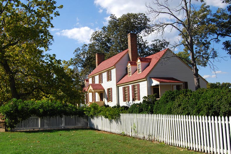 Exterior view of the St. George Tucker House in Williamsburg, Virginia
