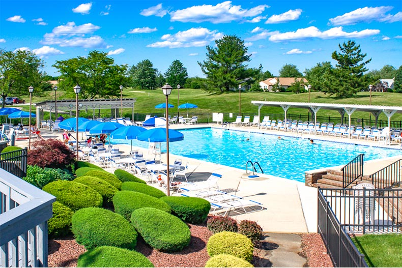 Outdoor pool and patio in Concordia in Monroe, NJ