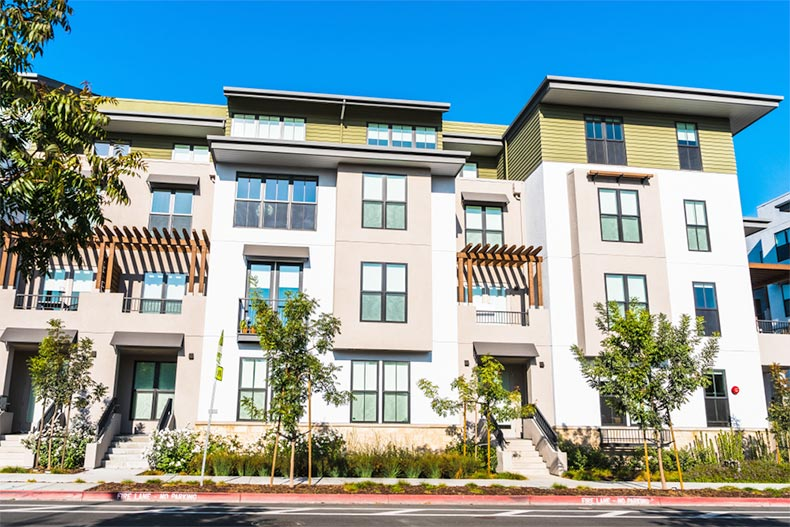Exterior view of a condo building in the San Francisco Bay Area in California