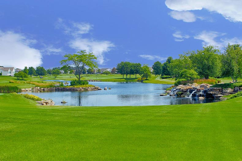 The picturesque grounds of Sun City Huntley in Huntley, Illinois