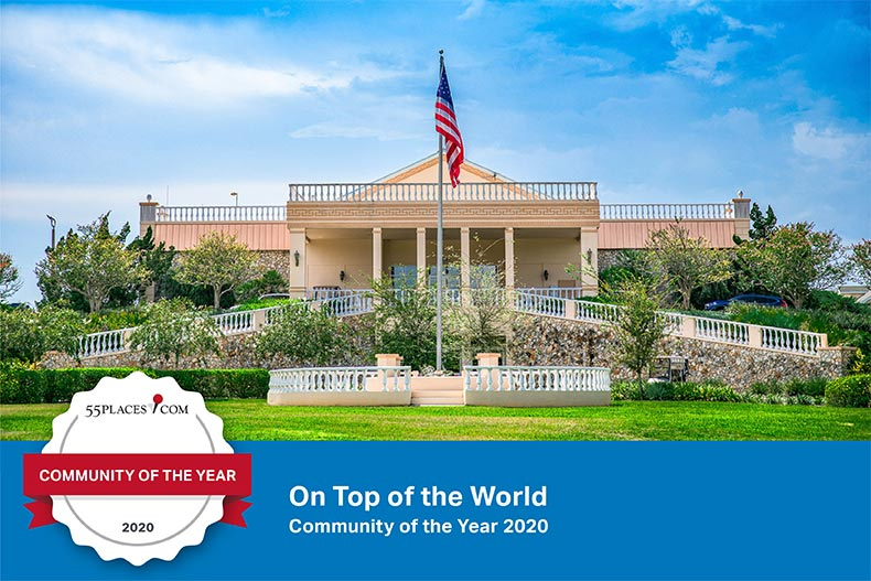"""Community of the Year"" banner over the recreation center at On Top of the World in Ocala, Florida"