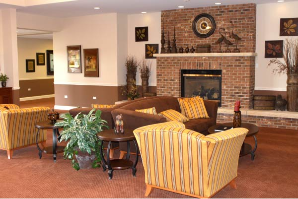 The clubhouse lounge at Carillon Club in Naperville, IL.