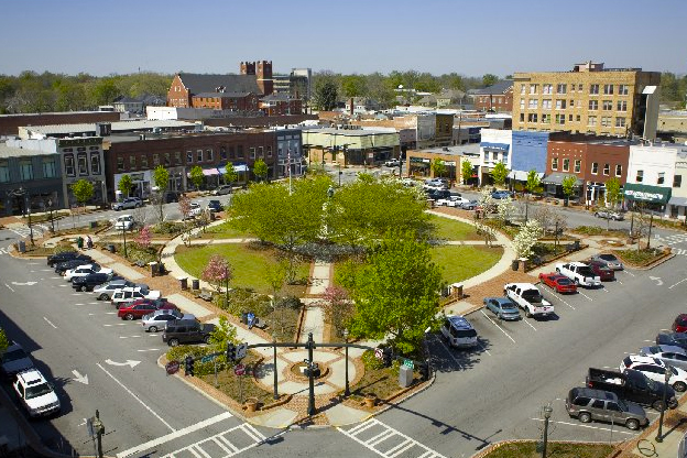 The town square in Gainesville, GA.