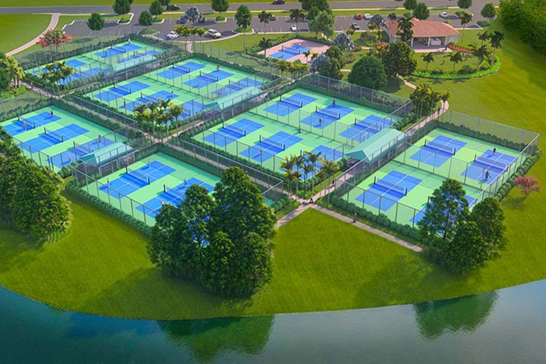 Aerial view of the tennis courts at Cresswind at PGA Village Verano in Port St. Lucie, Florida