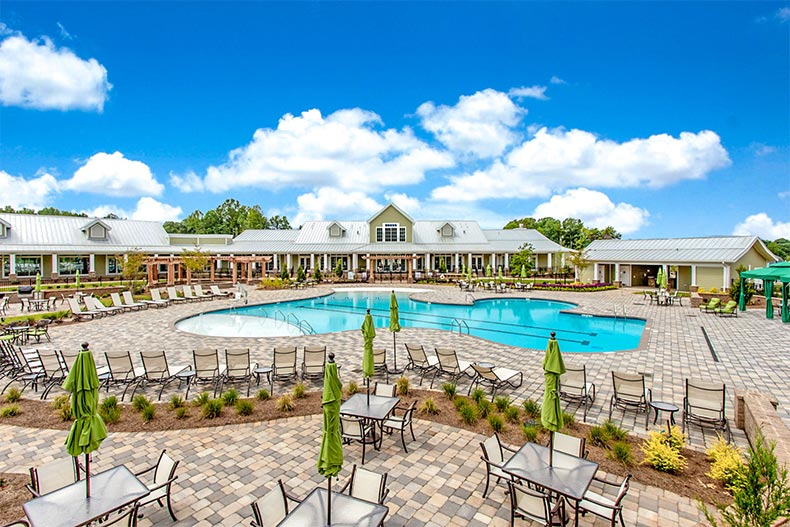 Lounge chairs on the patio surrounding the outdoor pool at Cresswind Charlotte in Charlotte, North Carolina