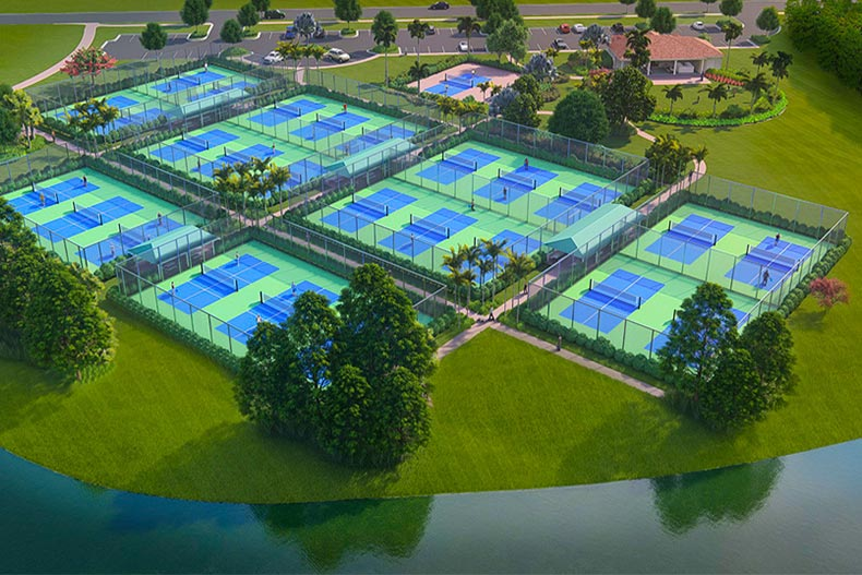 Rendering of pickleball complex in Cresswind at PHA Village Verano