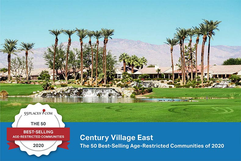 "Photo of Century Village East in Deerfield Beach, Florida with the ""50 Best-Selling Age-Restricted Communities of 2020"" badge and banner"