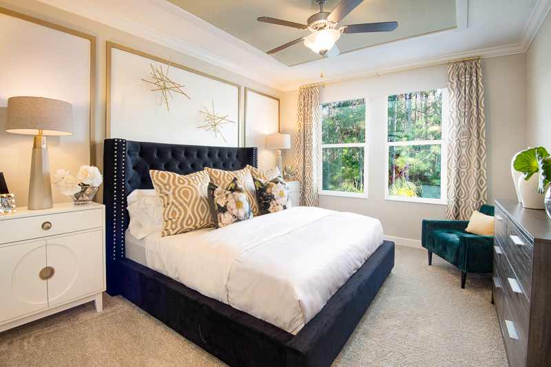 Interior view of the master bedroom in the Dayspring model at Medley at Mirada in San Antonio, Florida