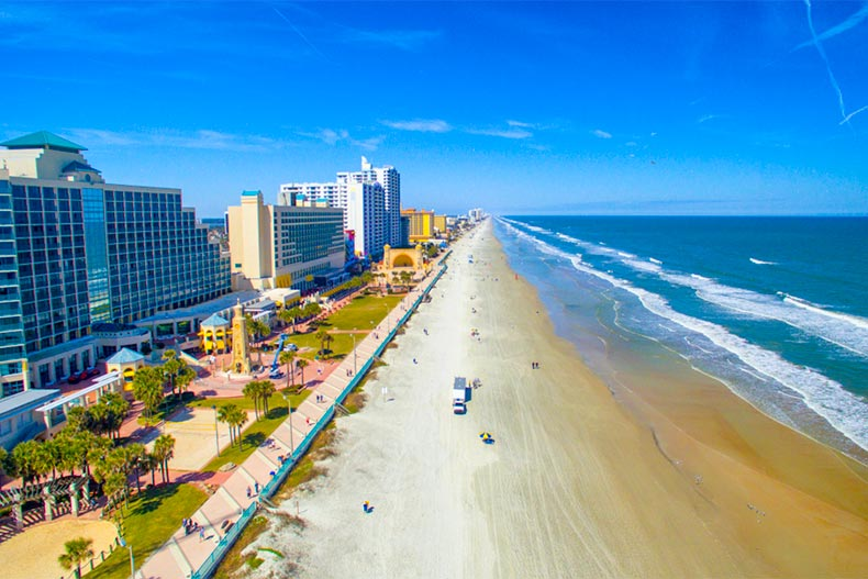 Aerial view of Daytona Beach, Florida on a sunny day