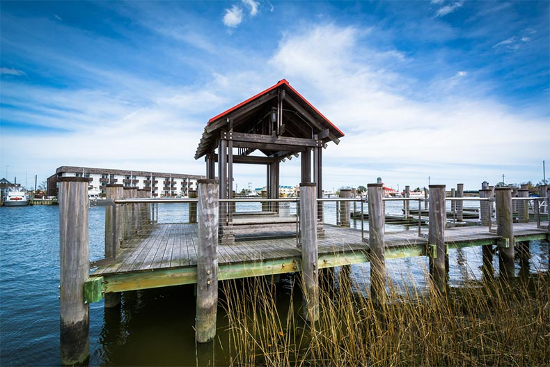 View of a pier in the Lewes and Rehoboth Canal in Lewes, Delaware