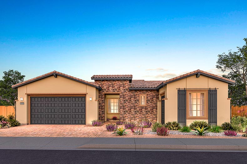 Exterior view of a model home at Del Webb at Lake Las Vegas in Henderson, Nevada