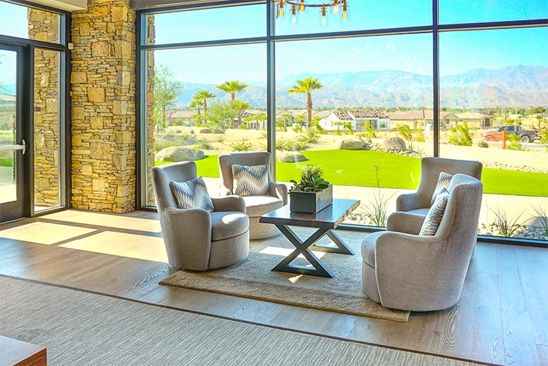 A sitting area in the clubhouse at Del Webb at Rancho Mirage in Rancho Mirage, California