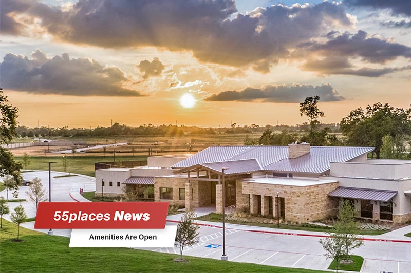 """55places News: Amenities Are Open"" banner over the new amenity center at Del Webb at Trinity Falls in McKinney, Texas"