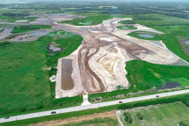 Aerial view of the construction site for Del Webb BayView in Palmetto, Florida