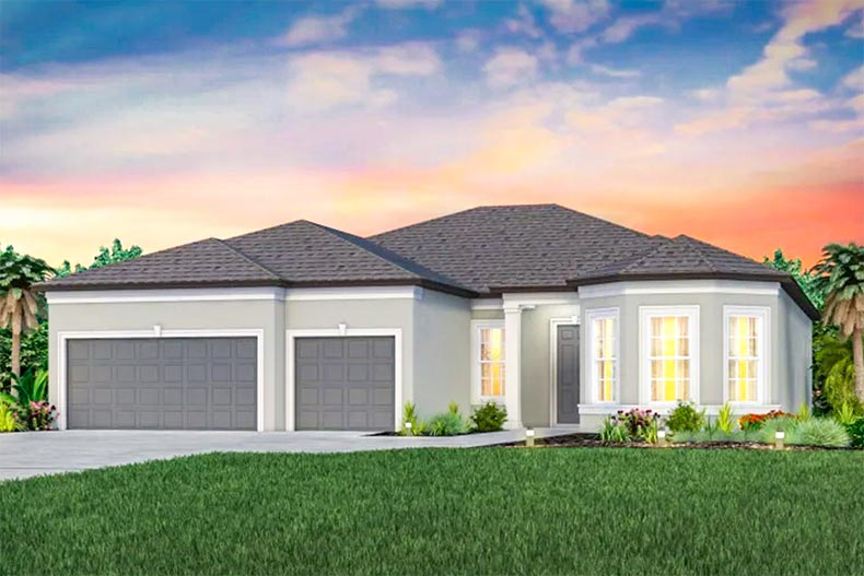 Rendering of an exterior view of a model home at Del Webb BayView in Palmetto, Florida