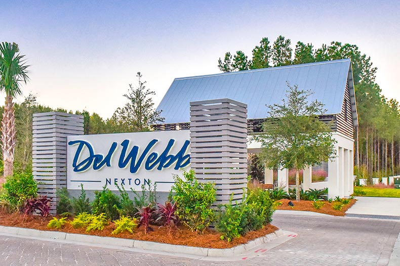 The community sign and entrance at Del Webb Charleston at Nexton in Summerville, South Carolina