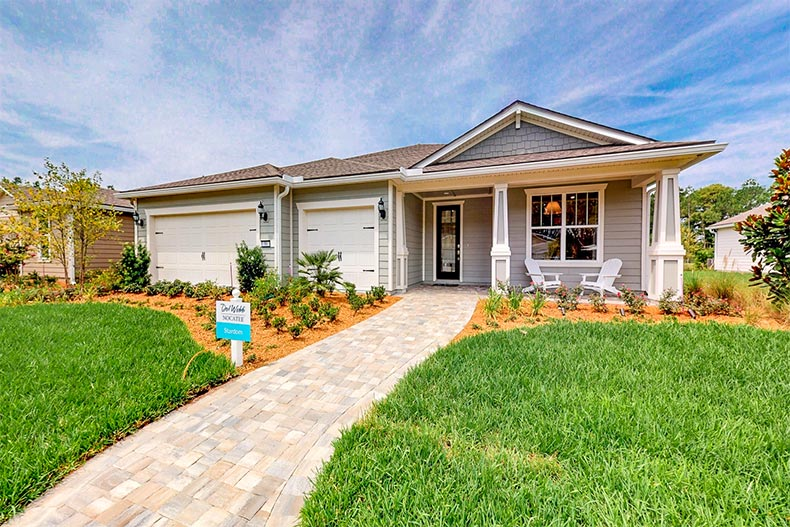 Exterior view of a model home at Del Webb Nocatee in Ponte Vedra, Florida