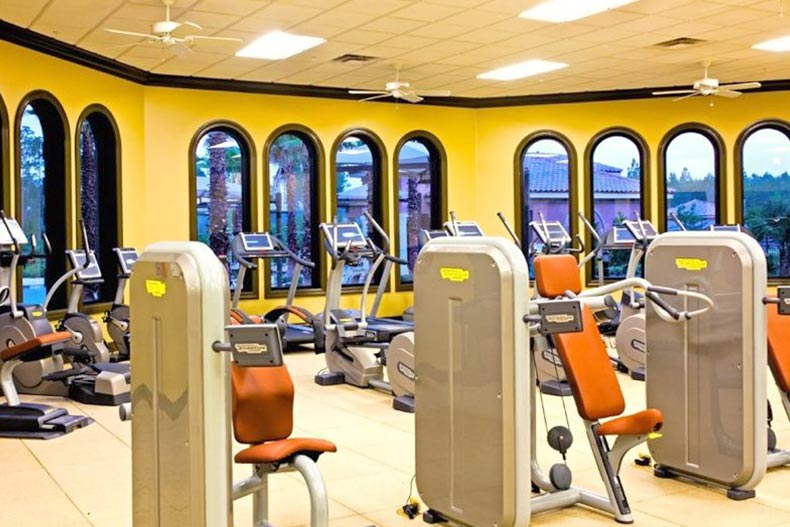 Interior view of the fitness center at Del Webb Ponte Vedra in Ponte Vedra, Florida