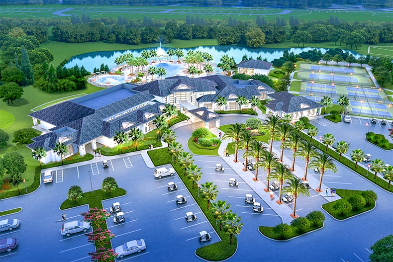 Aerial rendering of the amenity complex at Del Webb Sunbridge in St. Cloud, Florida