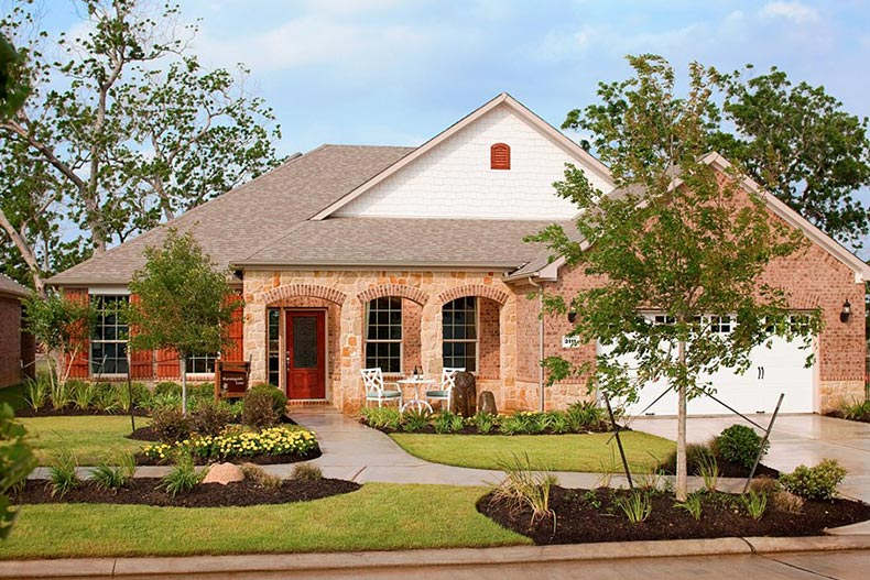 Exterior view of a home at Del Webb Sweetgrass in Richmond, Texas