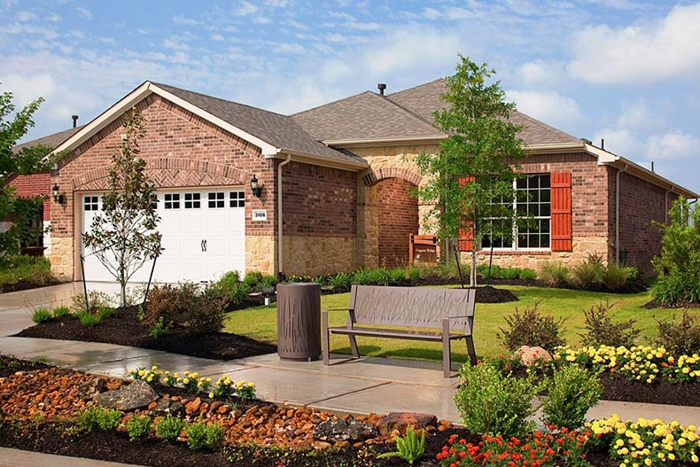 Exterior view of a single-family home at Del Webb Sweetgrass in Richmond, Texas
