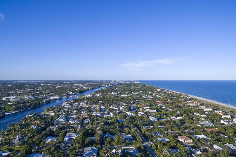 An aerial view of Delray Beach, Florida on a sunny day