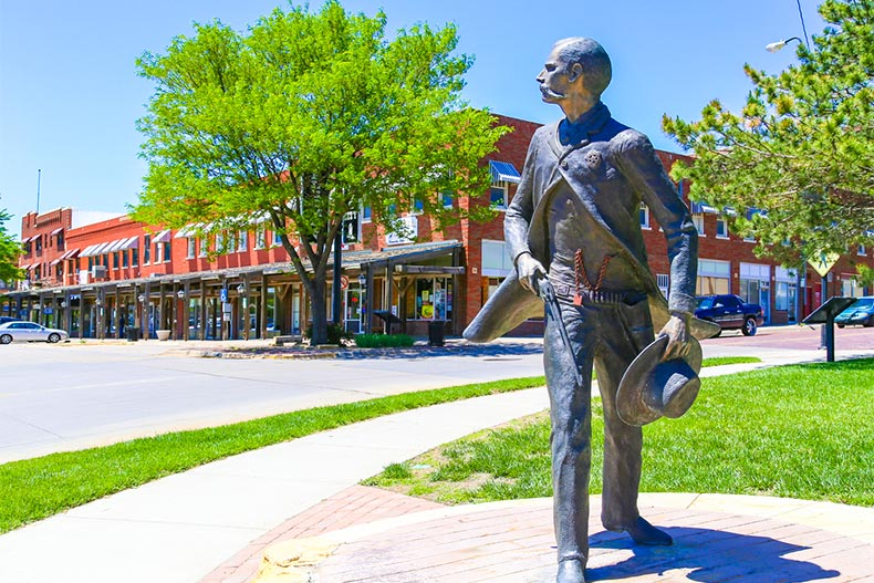 Sculpture of Wyatt Earp, part of the Trail of Fame in historic district of Dodge City, Kansas
