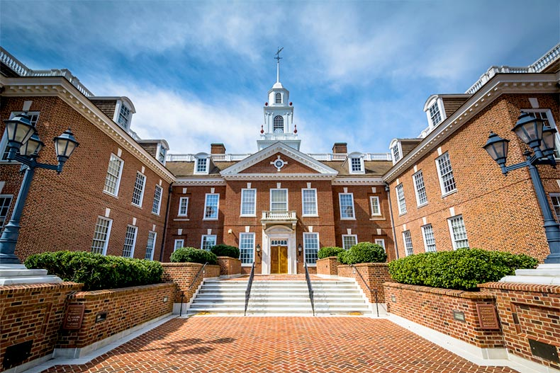Exterior view of the Delaware State Capitol Building in Dover, Delaware